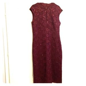 Connected Apparel burgundy sparkly dress